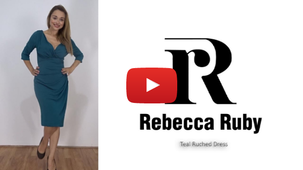 Teal Classic Ruched Dress By Rebecca Ruby